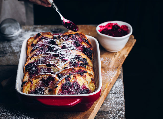 Bread pudding with red berries recipe