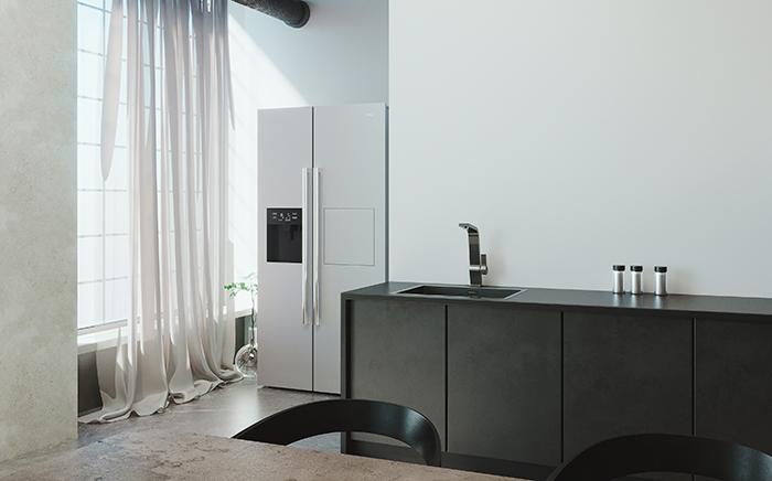 cocina con frigorífico y cortinas